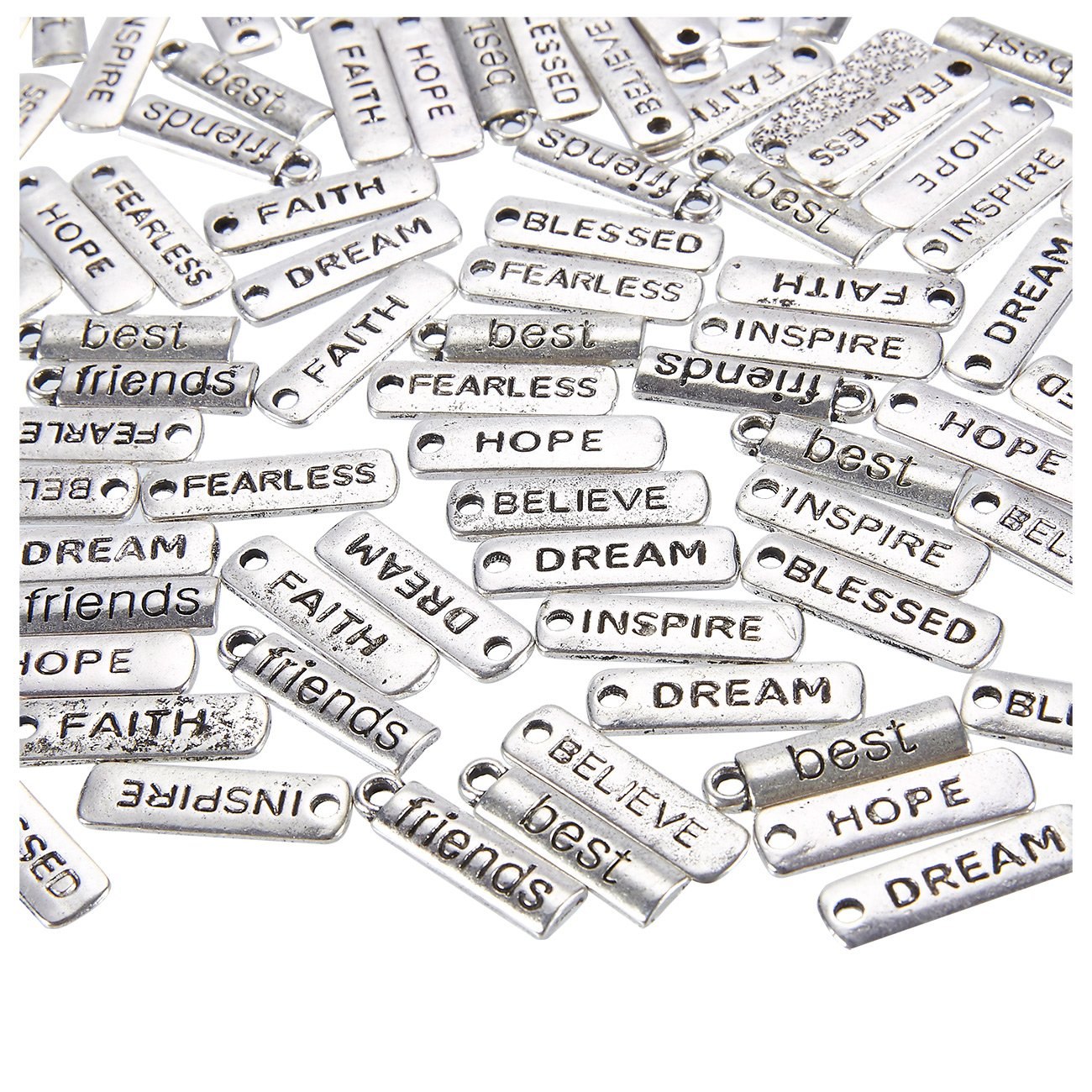 I Can Positivity and Motivation Tag Silver Large Mala or Bracelet Charm 10 Pieces  Base Metal 10x24mm