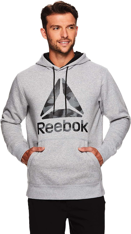 Reebok Mens Performance Pullover Hoodie Graphic Hooded Activewear Sweatshirt