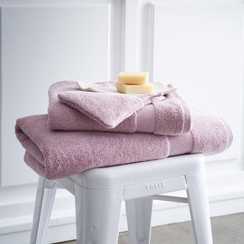 Lot De 2gants De Toilette 16cm X 21cm 600g//m/² Poudre De Lilas Design Actuel Premium