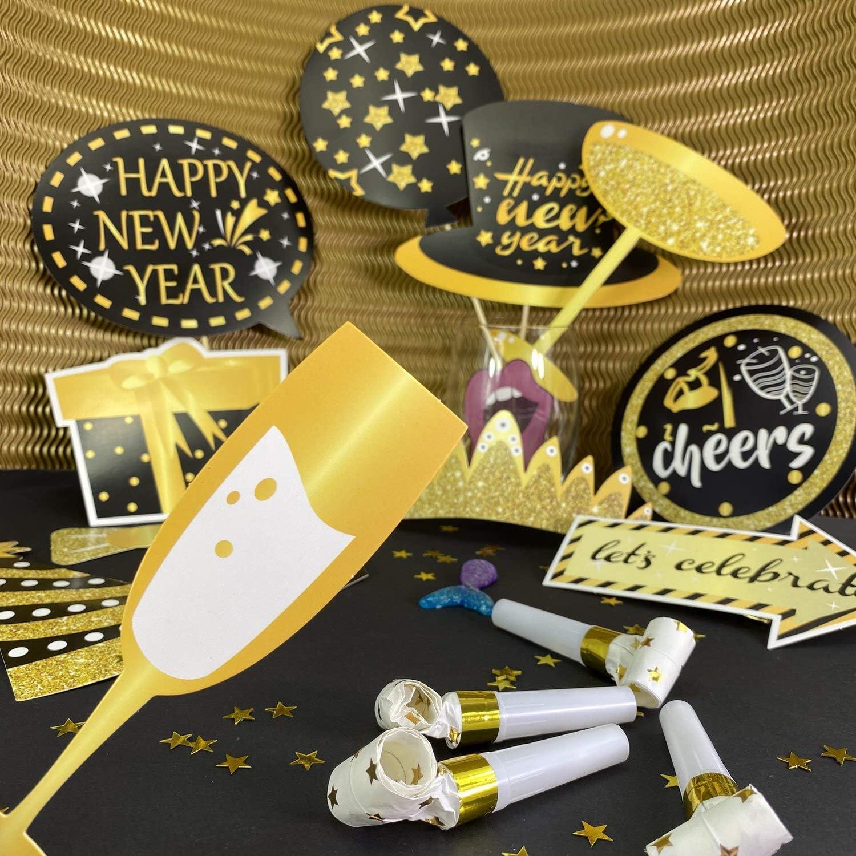 Oblique Unique/® Silvester Foto Props Set Photo Booth Foto Verkleidungen Fotorequisiten mit 34 Teilen Krone H/üte Lippen Brillen Happy New Year Sektgl/äser UVM.