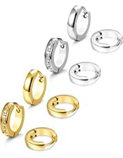 Thunaraz 4 Pairs Stainless Steel Small Hoop Earrings for Men Women Ear Piercing,13MM