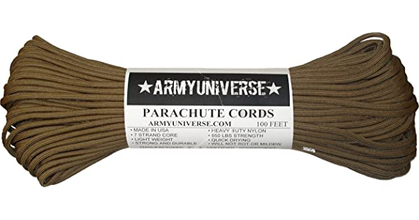Army Universe Nylon Military Paracord 550 lbs Type III 7 Strand Utility  Cord Rope 100 Feet (COYOTE Brown) e2945f4654c