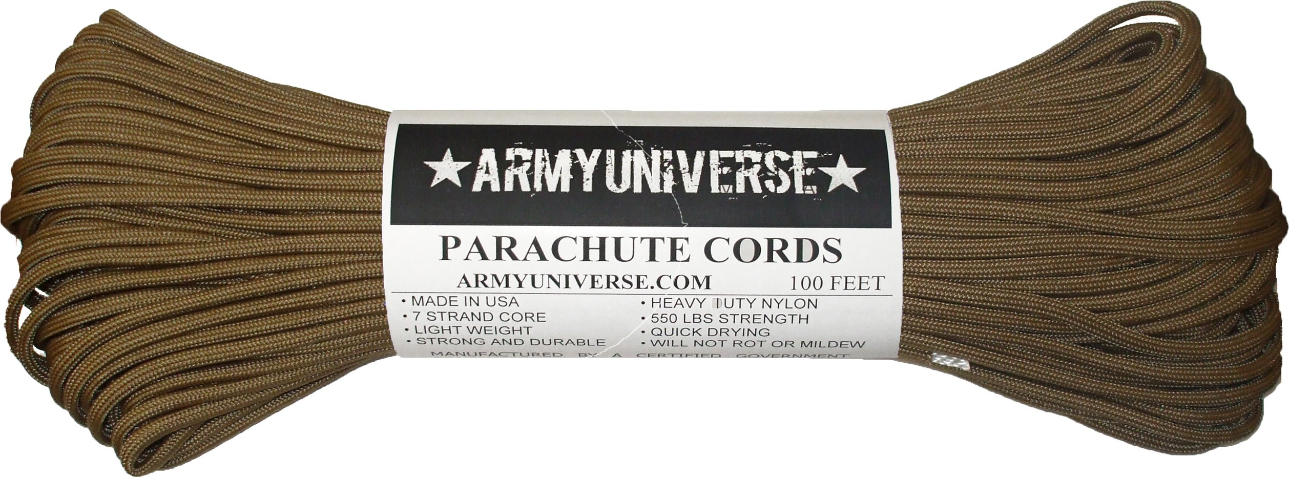 Army Universe Coyote Brown 550LB Military Nylon Paracord Rope 100 Feet