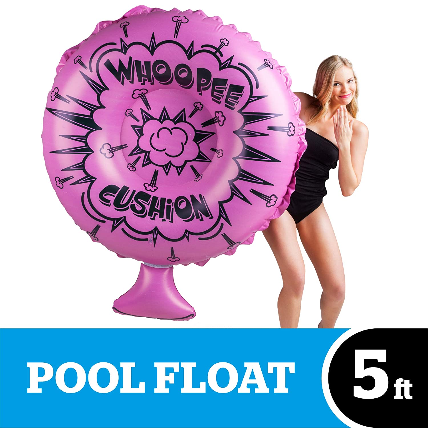 BigMouth Inc Giant Whoopee Cushion Pool Float, DurablePink Summer Pool Toy,  Emergency Repair Kit Included