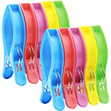 10 Pack Jumbo Size Ipow Beach Towel Clips,Heavy Duty Plastic Quilt Hanging Clips Clamp Holder for Beach Chair or Pool Loungers on Cruise-Keep