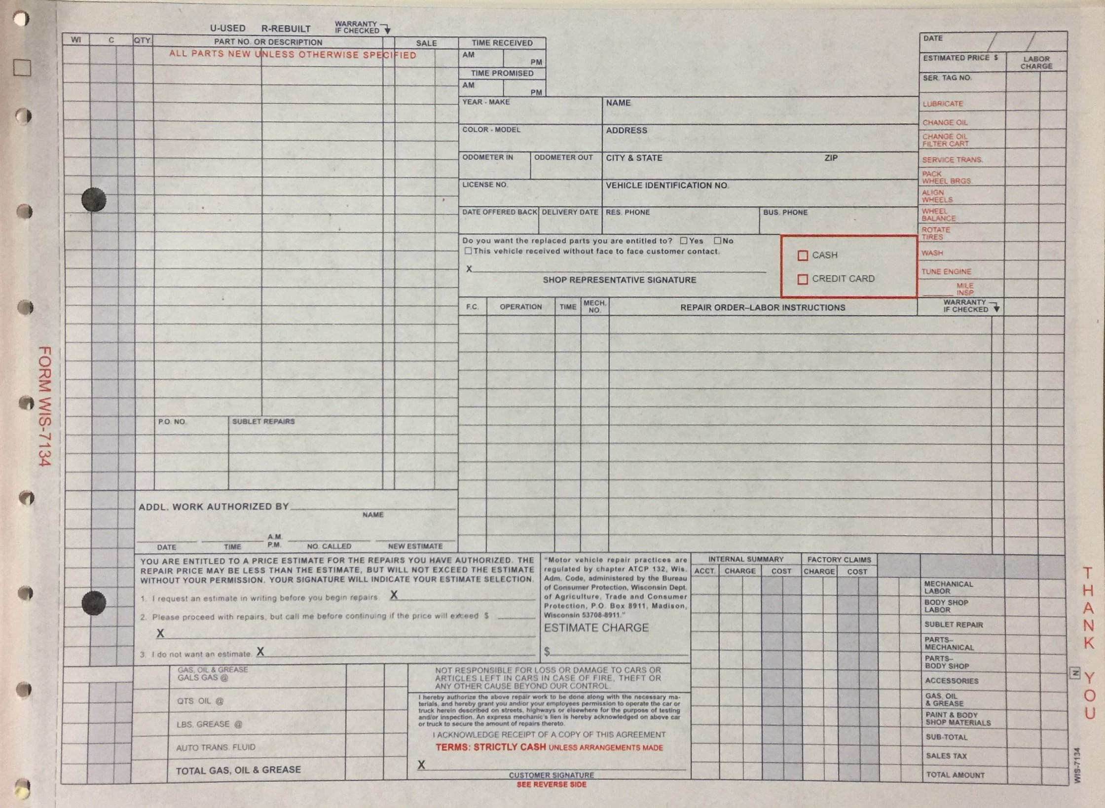 Generic Repair Order Form 100 Qty. - WIS-7134 (P13R)