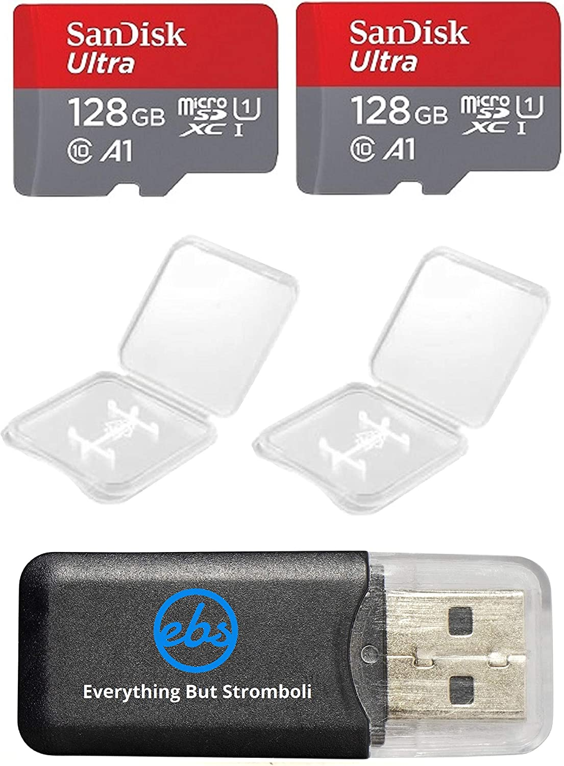 2 Pack - SanDisk Ultra 128GB Micro SD SDXC Memory Flash Card UHS-I Class 10 SDSQUAR-128G-GN6MN Wholesale Lot with 2 Plastic Jewel Cases and Everything But Stromboli (TM) Card Reader