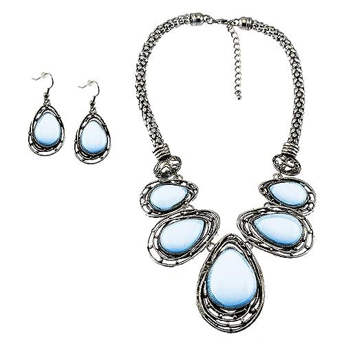 cda058e89 Amazon.com: Graduated Teardrop Opal Blue Cabochon Stone BIB Necklace Set  Matching Earrings: Jewelry