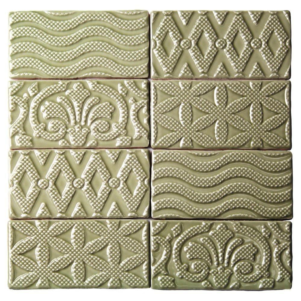 Splashback Tile CATDECO3X6KALE  Catalina Deco Kale 3 In. x 6 In. x 8 Mm Ceramic Floor & Wall Subway Tile
