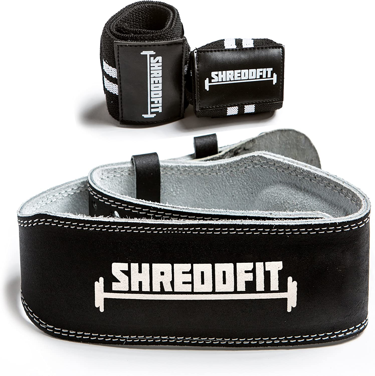 2018 ShreddFit Premium Leather Weight Lifting Belt VALUE PACK with Bonus Wrist Wraps Lower Back Lumbar Support Power Lifting Cross Training Deadlifts Squats