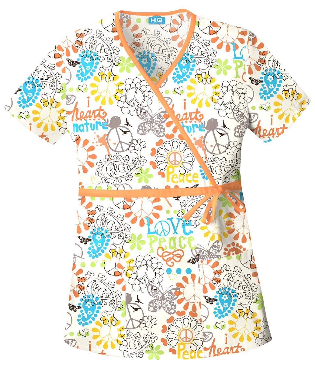 Scrub HQ 4788 Women's Mock Wrap Scrub Top Peace, Love, And Paisley 3X-Large