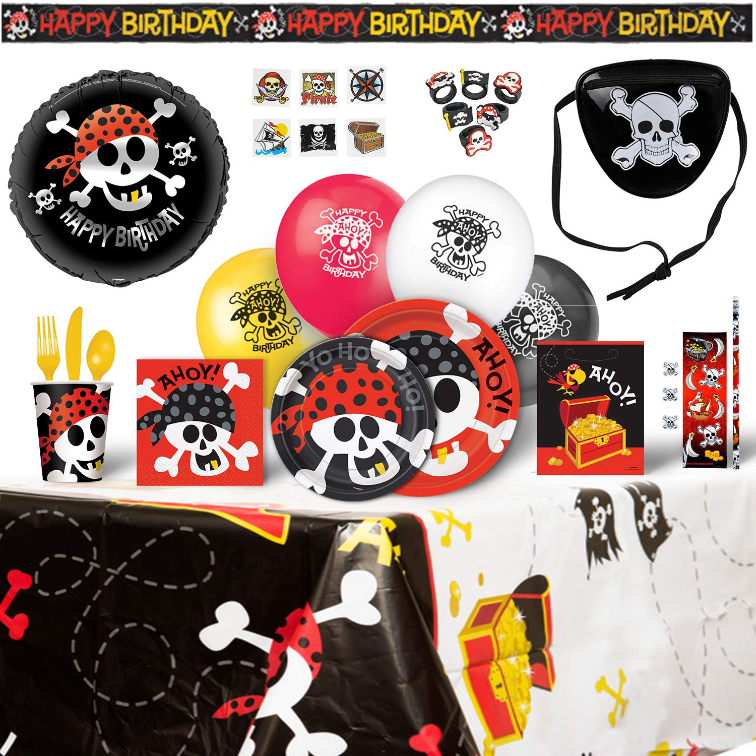Amazon Pirate Birthday Party Supplies for 8 Guests 200 Pieces Toys & Games