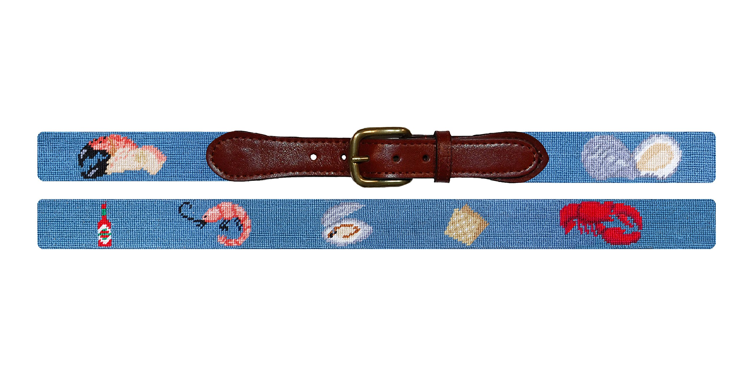 Smathers & Branson Raw Bar Steel Blue Needlepoint Belt Size 34 (B-233-34)