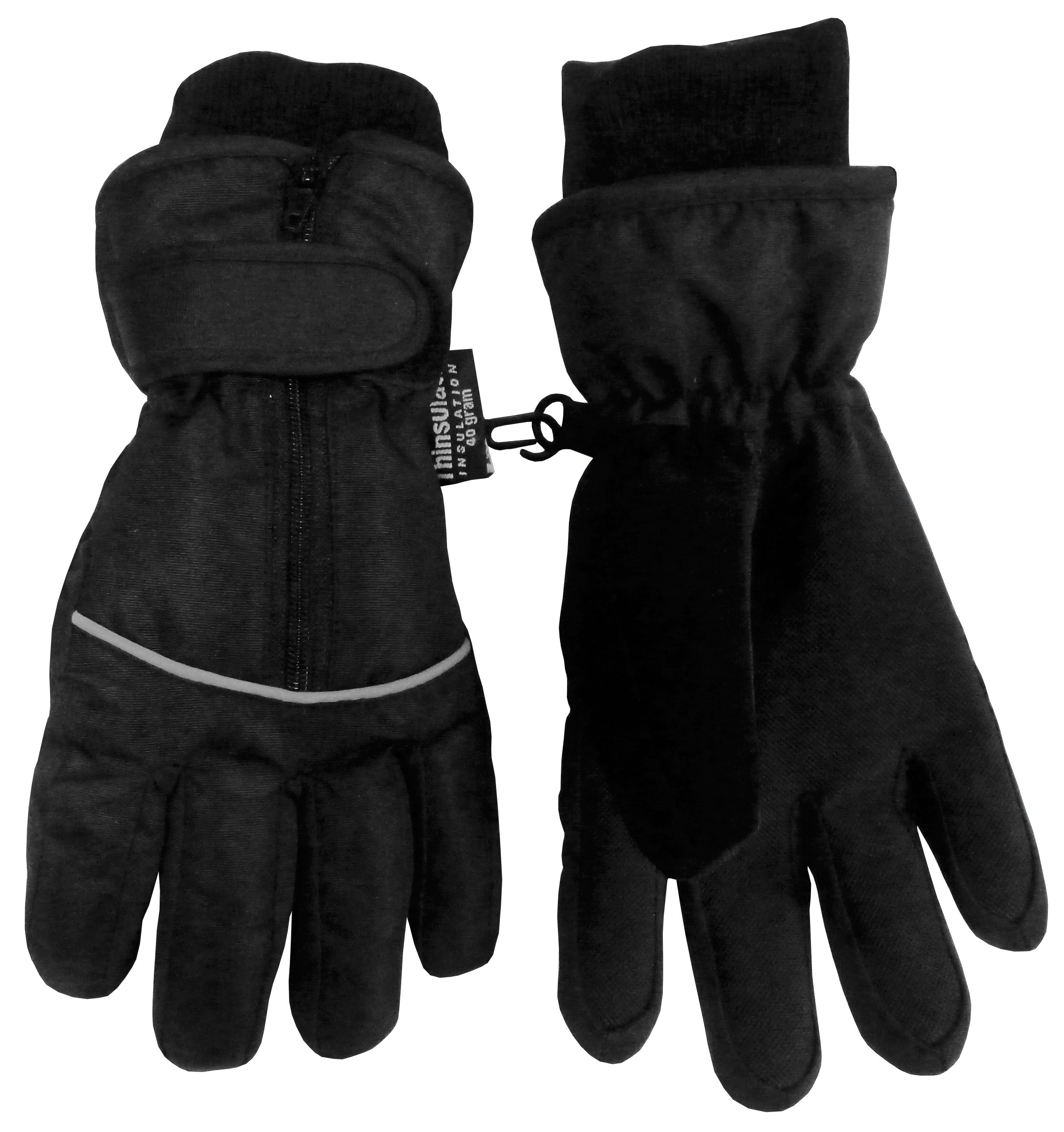 N'Ice Caps Kids Thinsulate and Waterproof Easy On Zip-Up Reflector Gloves (6-8yrs, Black)
