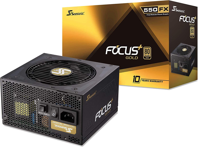 Seasonic FOCUS Plus 550 Gold SSR-550FX 550W 80+ Gold ATX12V & EPS12V Full Modular 120mm FDB Fan 10 Year Warranty Compact 140 mm Size Power Supply