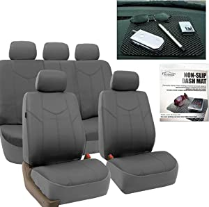 FH Group FH-PU009115 Rome PU Leather Car Seat Covers Solid Gray, Airbag Compatible and Split Bench FH1002 Non-Slip Dash Grip Pad- Fit Most Car, Truck, SUV, or Van