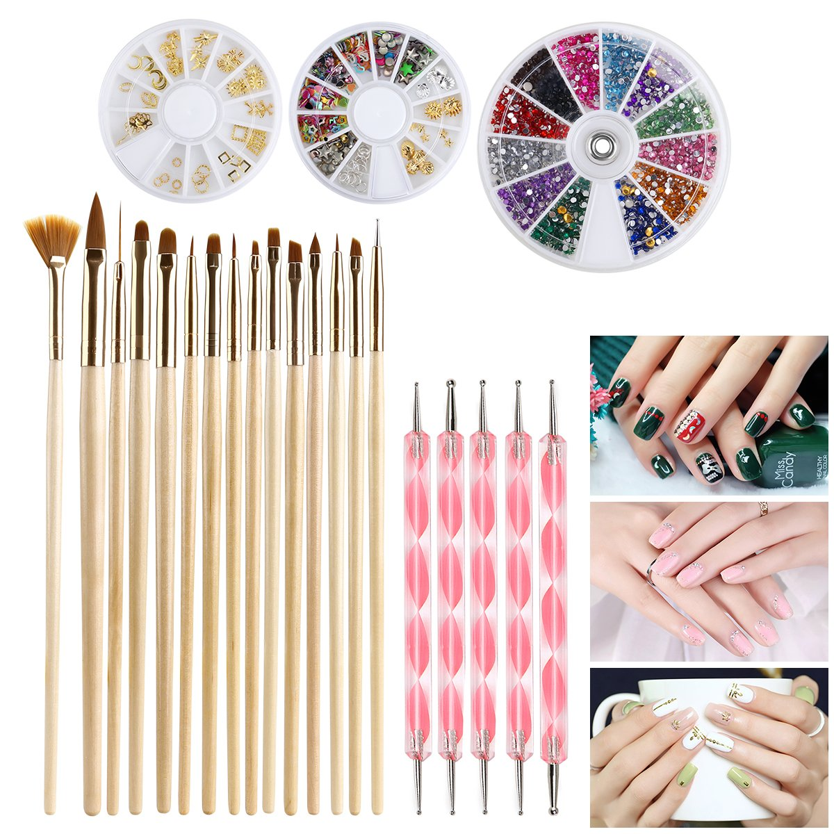 Nail Art Kit Includes 15 Nail Art Brushes 5 Dotting Pens