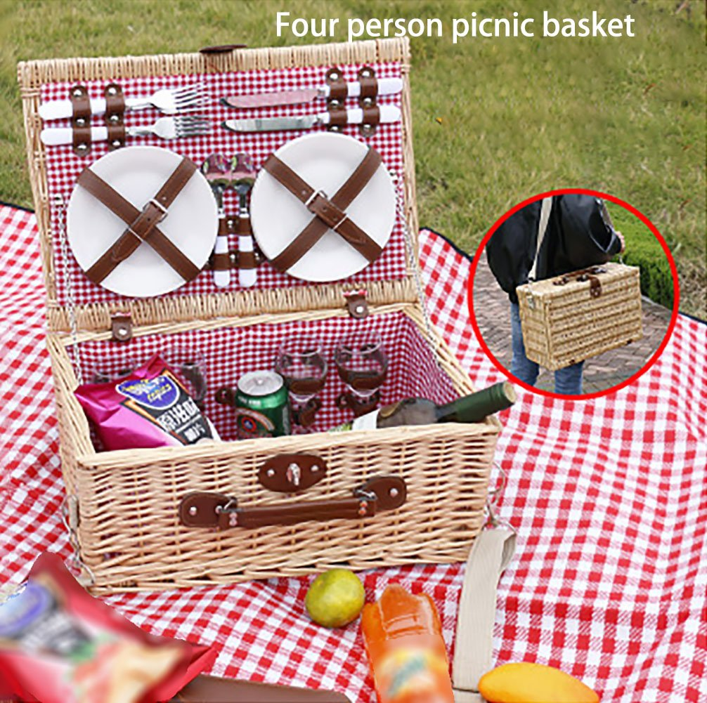 FCCD Wicker Picnic Basket Wicker Warmer Basket Picnic Basket Portable Folding Storage Basket Picnic Bag Camping 453418cm