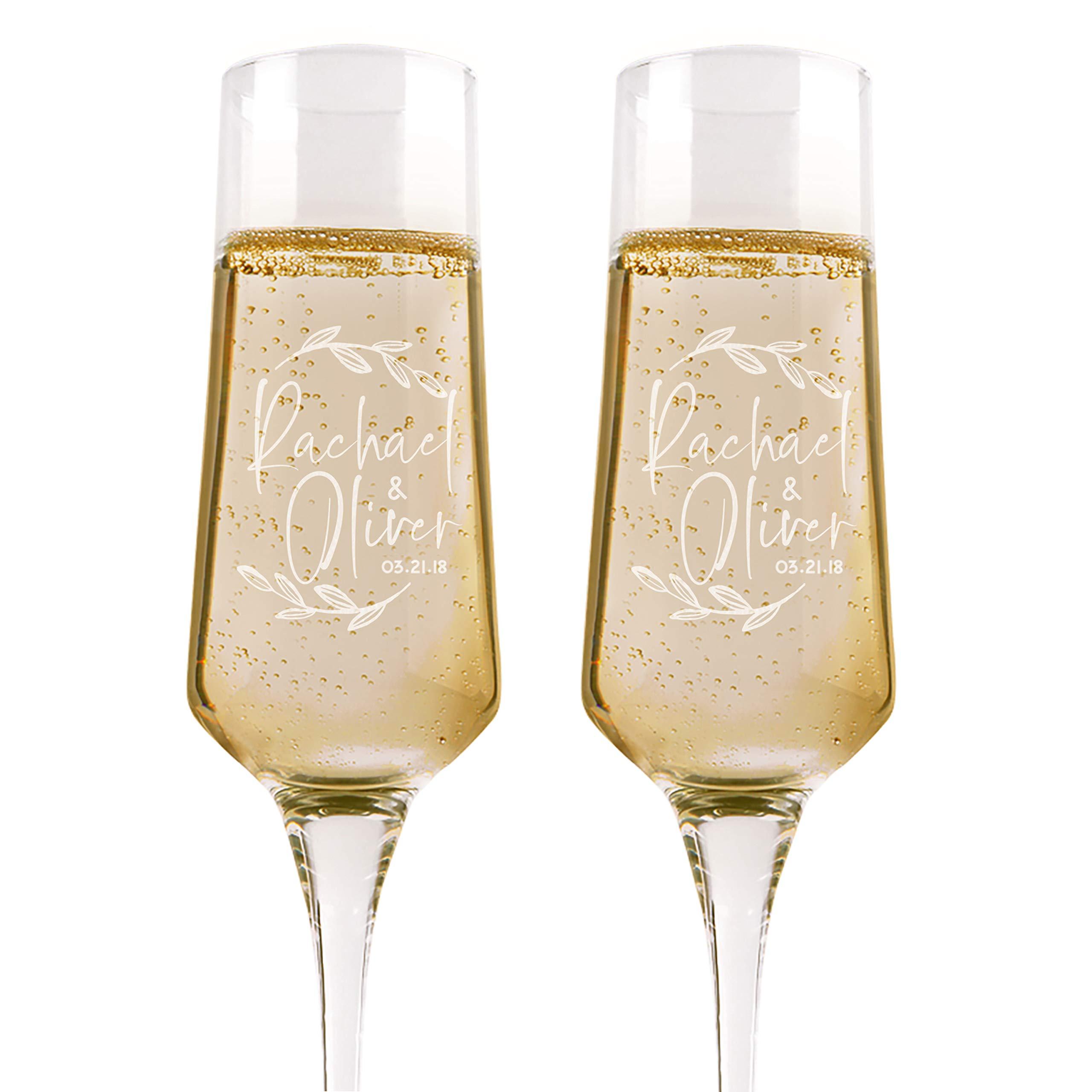 Set of 2, Personalized Wedding Champagne Flutes, Floral, Toasting Glasses for Bride and Groom, Wedding Toast Glasses - Wedding Registry By Brides Name, Wedding Gift