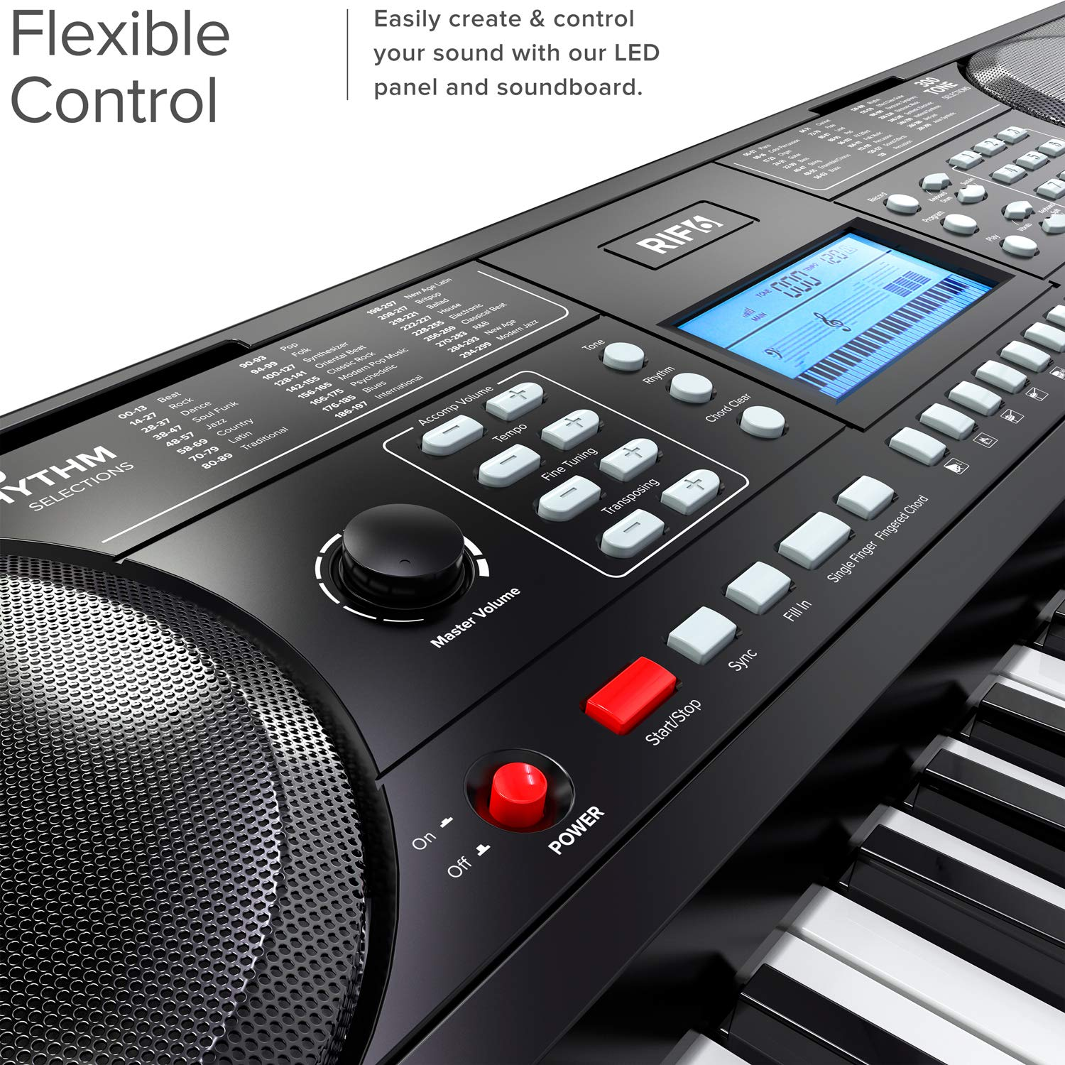 RIF6 Electric 61 Key Piano Keyboard - with Over Ear Headphones, Music Stand, Digital LCD Display, Teaching Modes and Adjustable Stool - Electronic Musical Instruments Starter Set for Kids and Adults by RIF6 (Image #7)
