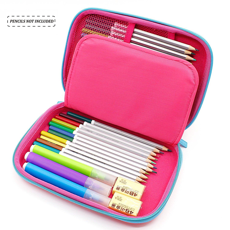 Estuche, Anti Choque Gran Capacidad Multi-compartimiento para la Escuela Estudiantes Chicas Adolescentes Niños (rosado): Amazon.es: Oficina y papelería