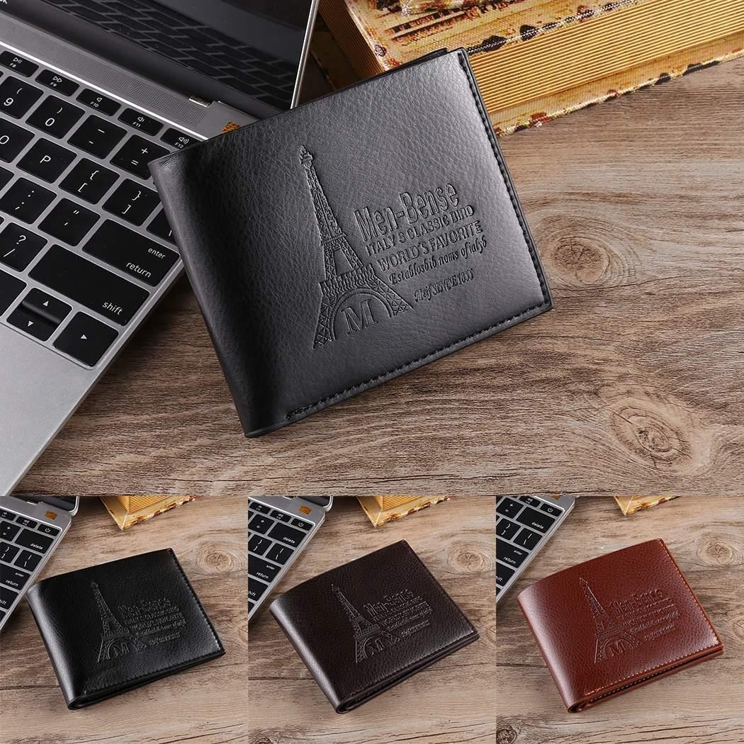 Jingjing1 Men Fashion Wallets Leather Fashion Letter Print Thin Short Bifold Open Bifold Multi-card Purse (01 Dark Coffee)