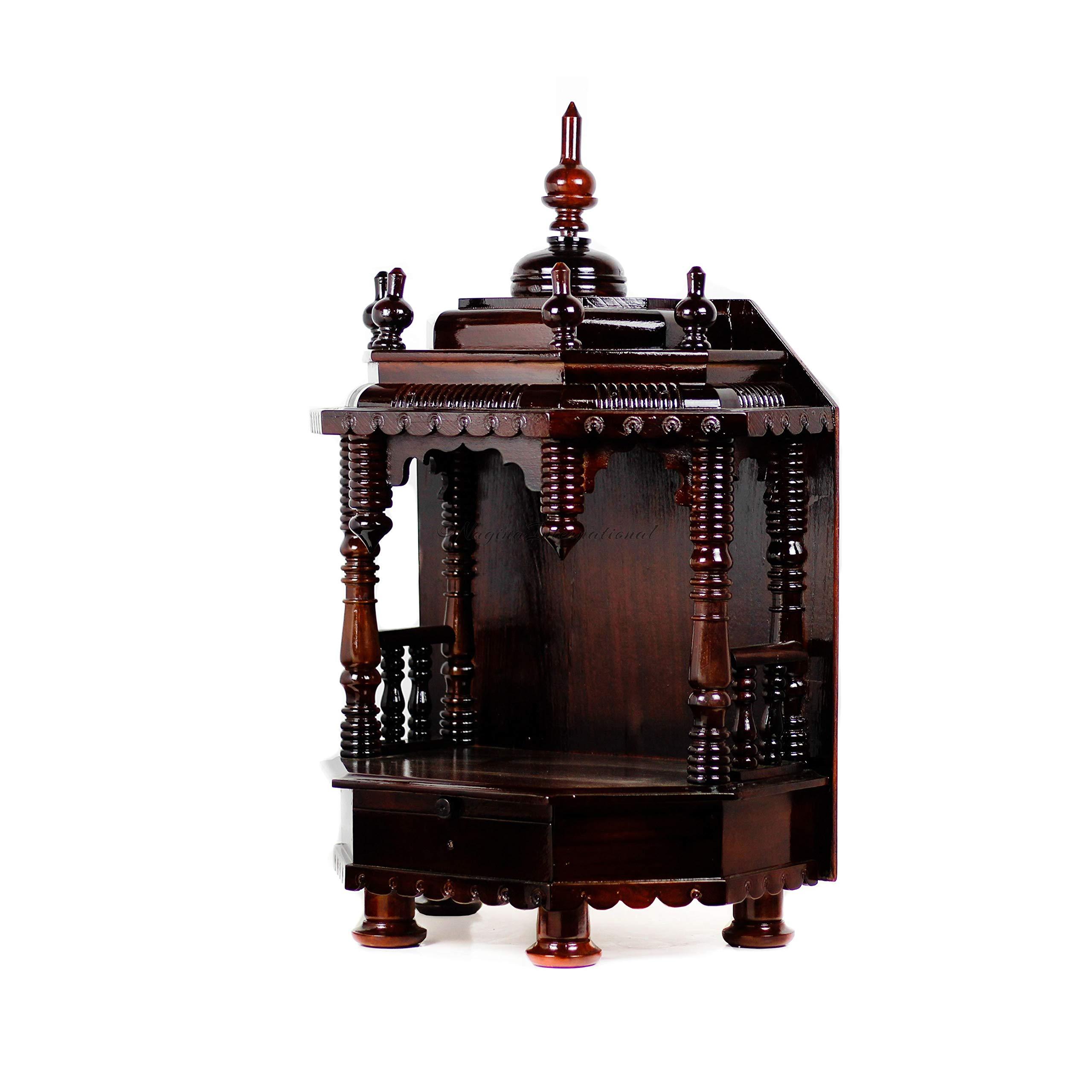 Nagina International Premium Hand Made Wooden Temple | Wooden Indian Mandir | Sheesham Wooden Madir (Dark Varnish) by Nagina International