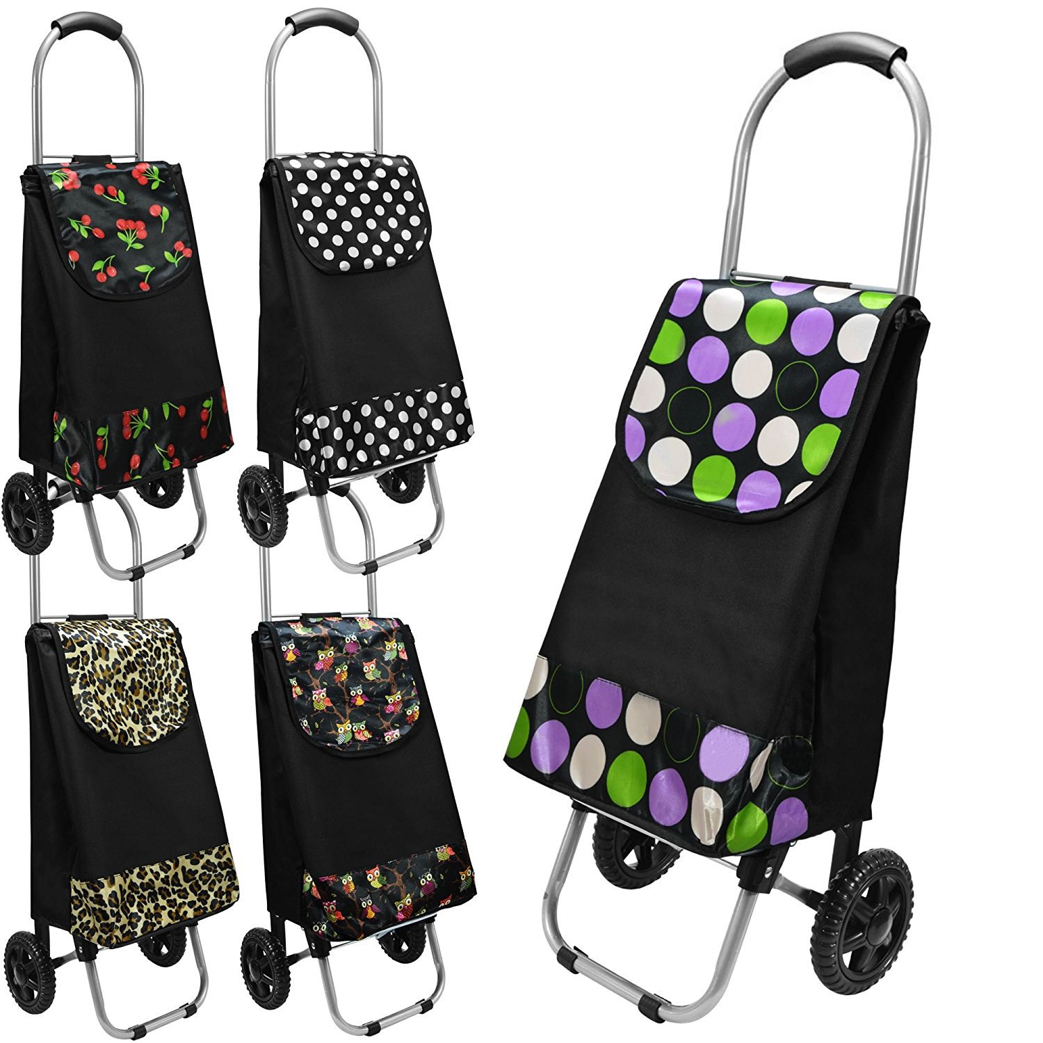 STRONG WHEELIE SHOPPING TROLLEY FESTIVAL ESSENTIAL FOLDING DURABLE WHEELED PUSH CART BAG 30 LITRE Fusion