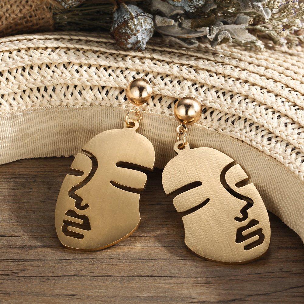 Human Face Skull Circle Swirl Shape Earrings Hollow Out Gold Plated Dangle Earrings