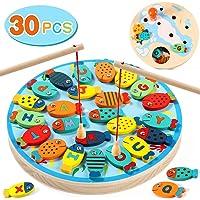 Lewo 2 en 1 Juego de Pesca 30 PCS Alfabeto Magnético de Madera Carta de Pesca Juguetes para 3 4 5 Años de Edad Niñas…