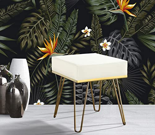 Iconic Home Catania Contemporary Modern Square Ottoman Pu Leather Upholstered