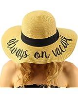 "Fun Verbiage Elegant Wide Brim 4"" Summer Derby Beach Pool Floppy Dress Sun Hat"