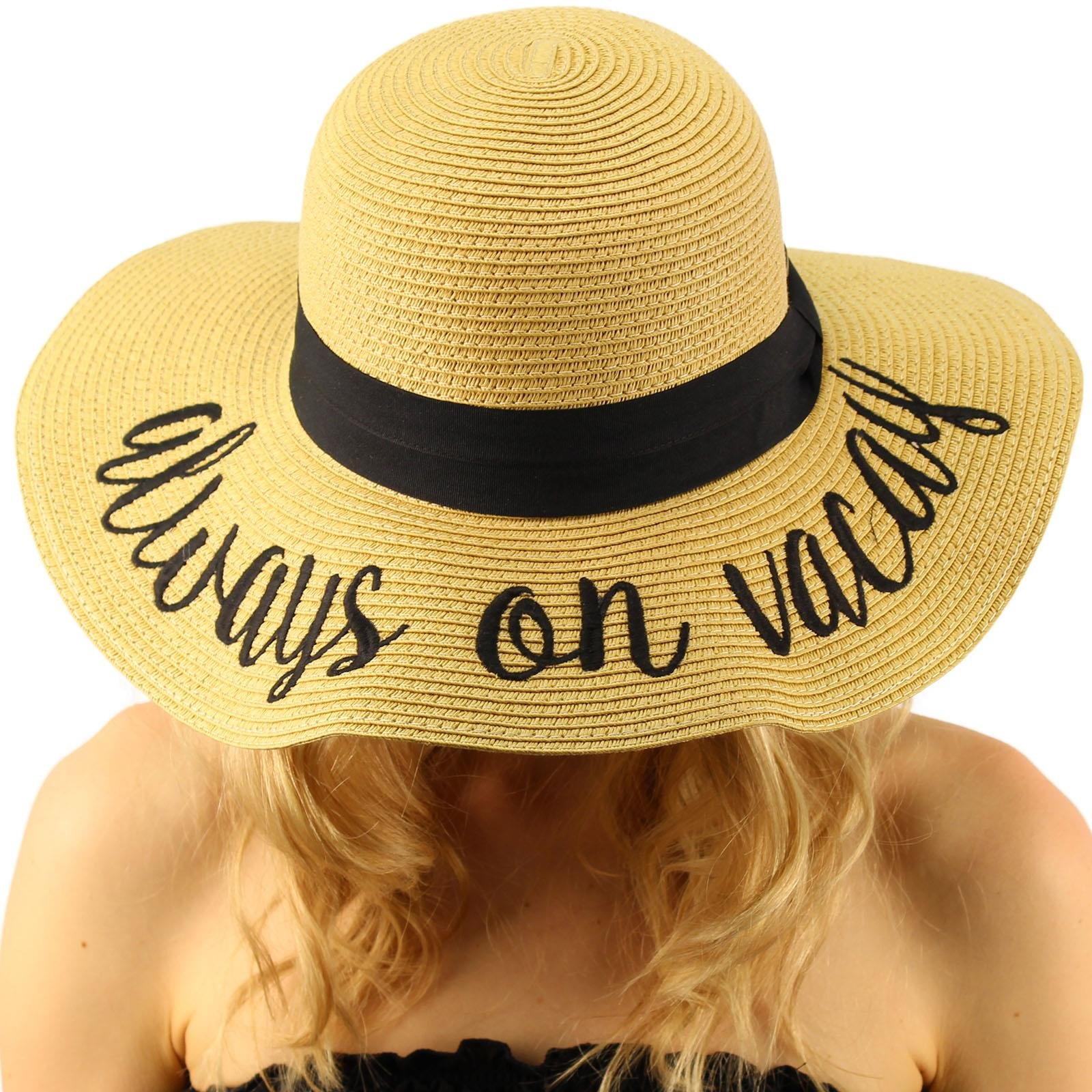 C.C Always on Vacay Wide Brim 4 Summer Derby Beach Pool Floppy Dress Sun Hat