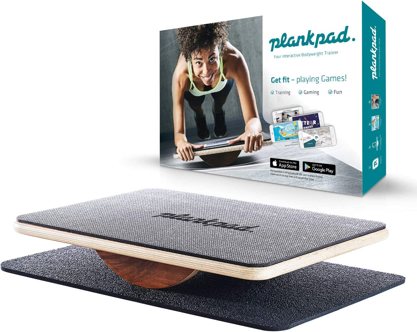 Plankpad – Balance Board Bodyweight Fitness Trainer with Training App for iOS Android – Interactive Plank Abs Trainer in Maple Wood Walnut – as seen on German Shark Tank