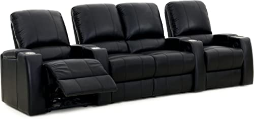 Octane Seating Storm XL850 Home Theater Sectional Couch Black Leather – Manual Recline – Straight Row of 4 Chairs with Middle Loveseat