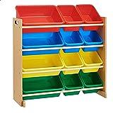 ROCKPOINT Kid's origanizer 12 Bins Natural/Primary Toy Storage Organizer