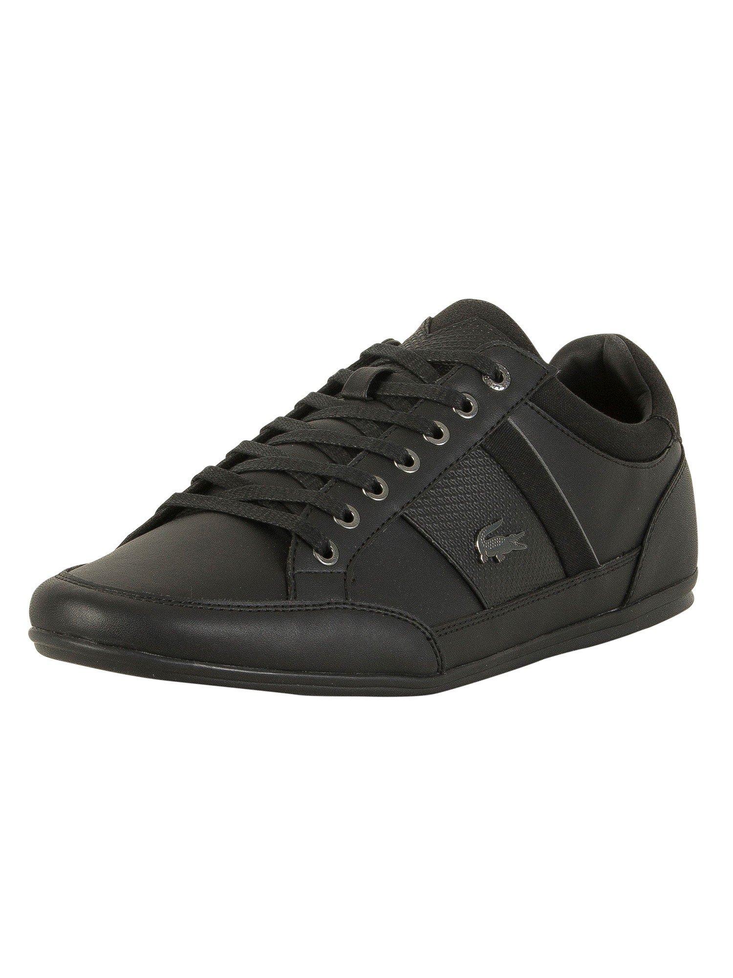 Lacoste Men's Chaymon 118 1 Cam Leather Trainers, Black, 9 US