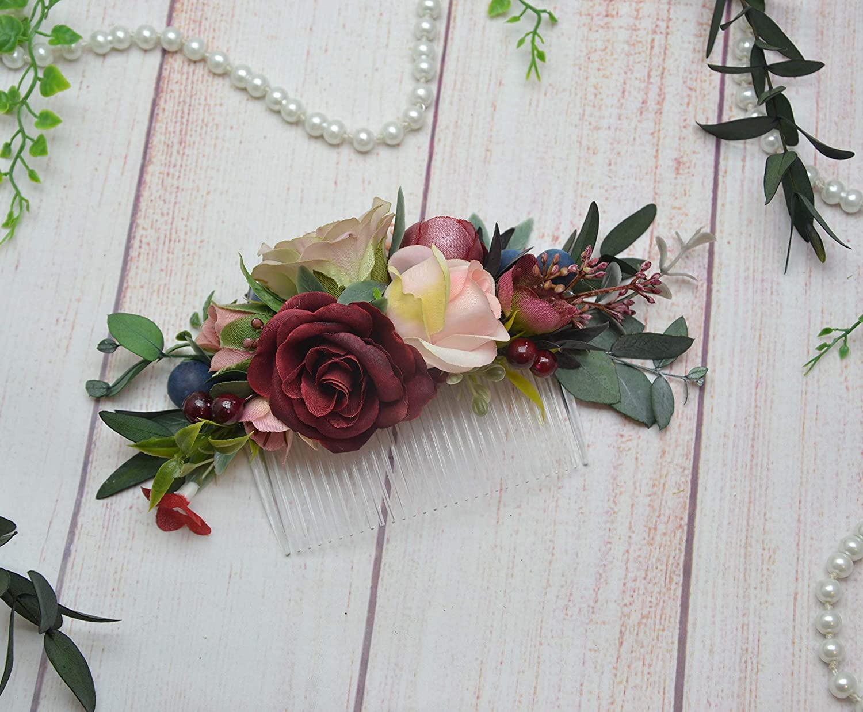 Blush Burgundy Beige eucalyptus hair comb Bridal Bridesmaid Flower girl floral headpiece fall piece