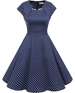 f8dda8e8d1 Homrain Women's 1950s Retro Vintage A-Line Cap Sleeves Cocktail Swing Party  Dress