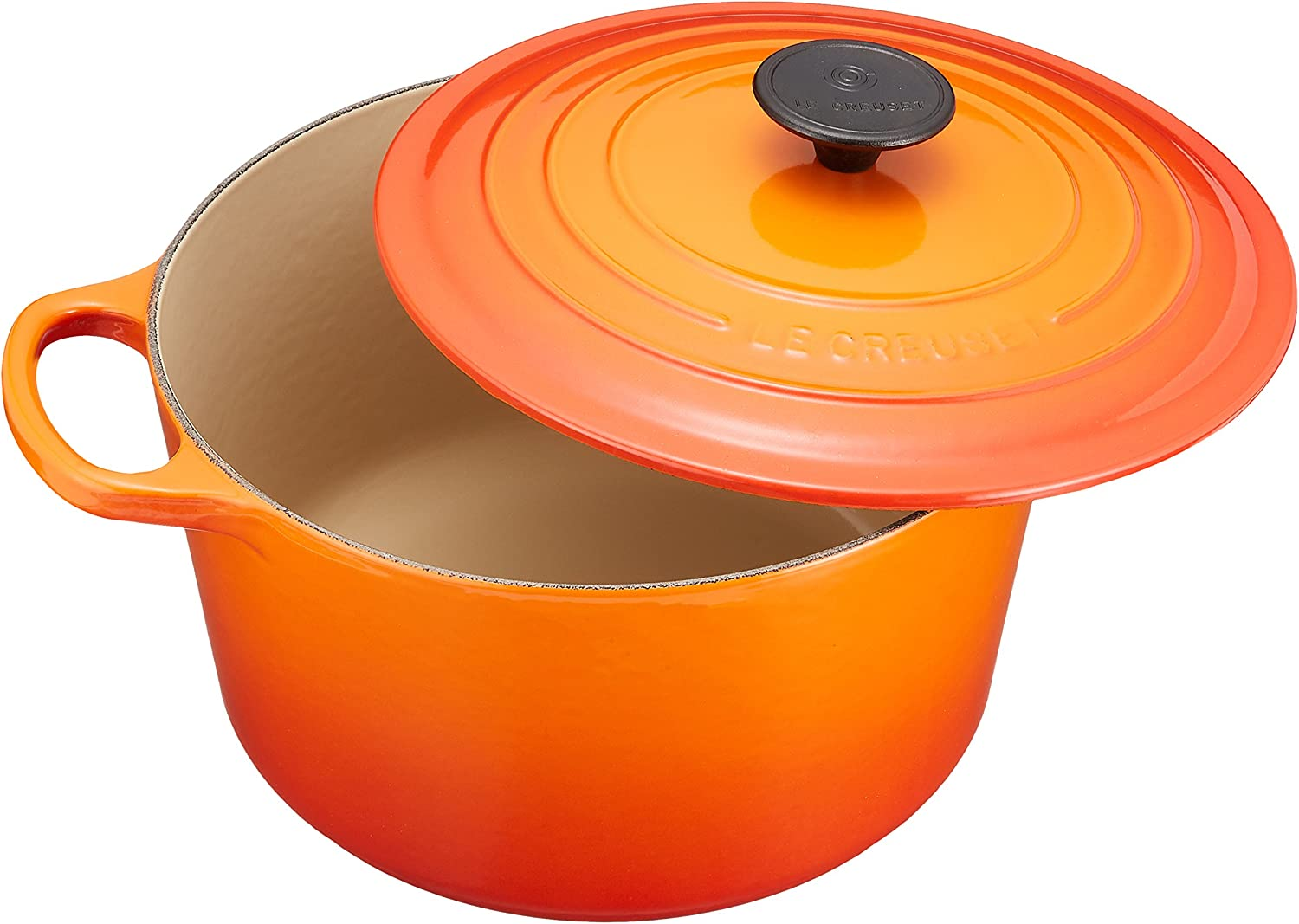 Le Creuset L2595-242 Enameled Cast Iron 5.25 quart Deep Round Dutch Oven, Flame