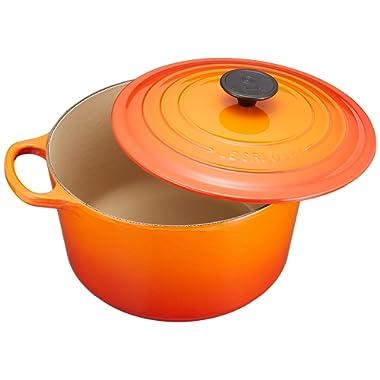 Le Creuset L2595-242 Enameled Cast Iron 5.25 Quart Deep Round Dutch Oven, Flame