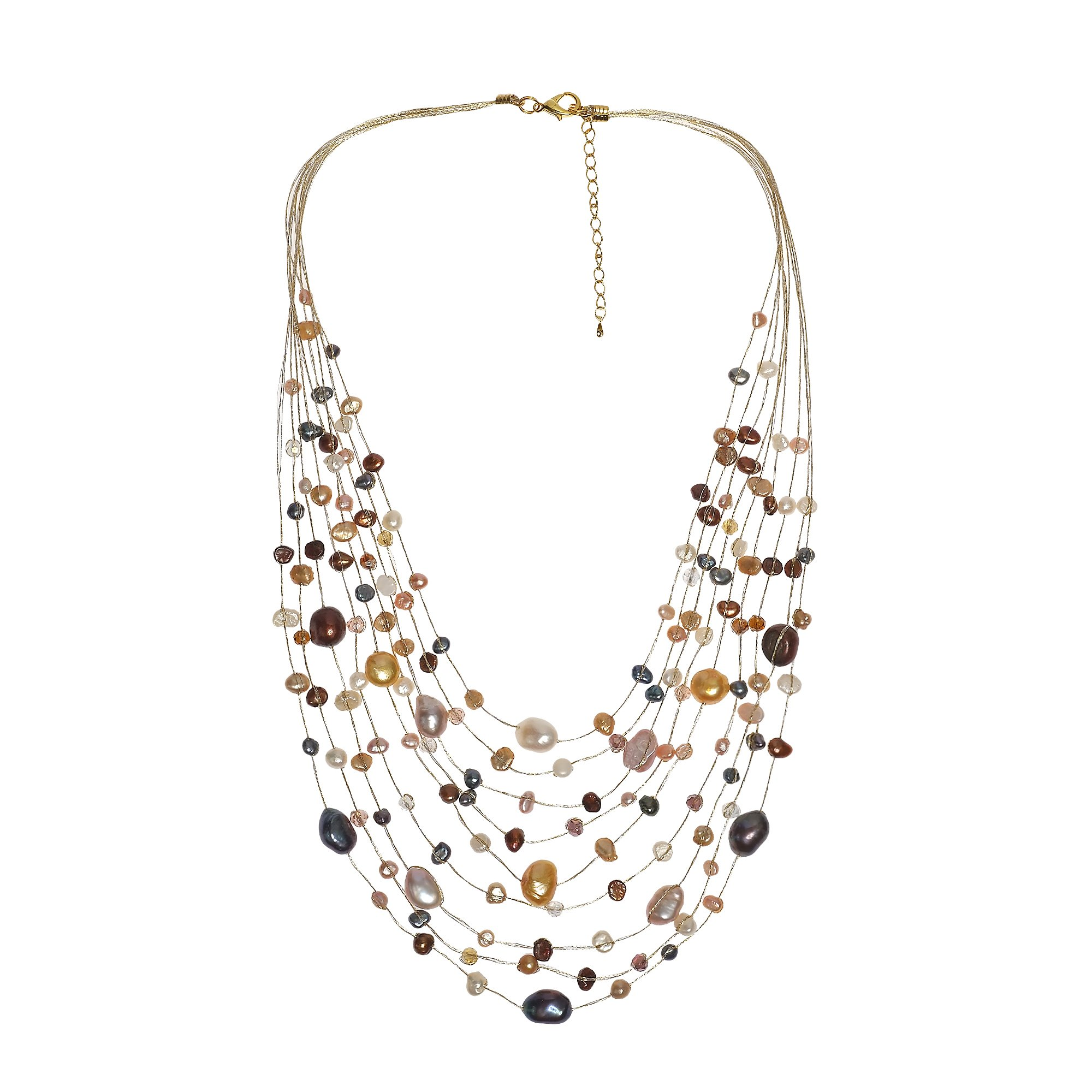 AeraVida Floating Mix Cultured Freshwater Pearl Dyed Multistrand Necklace