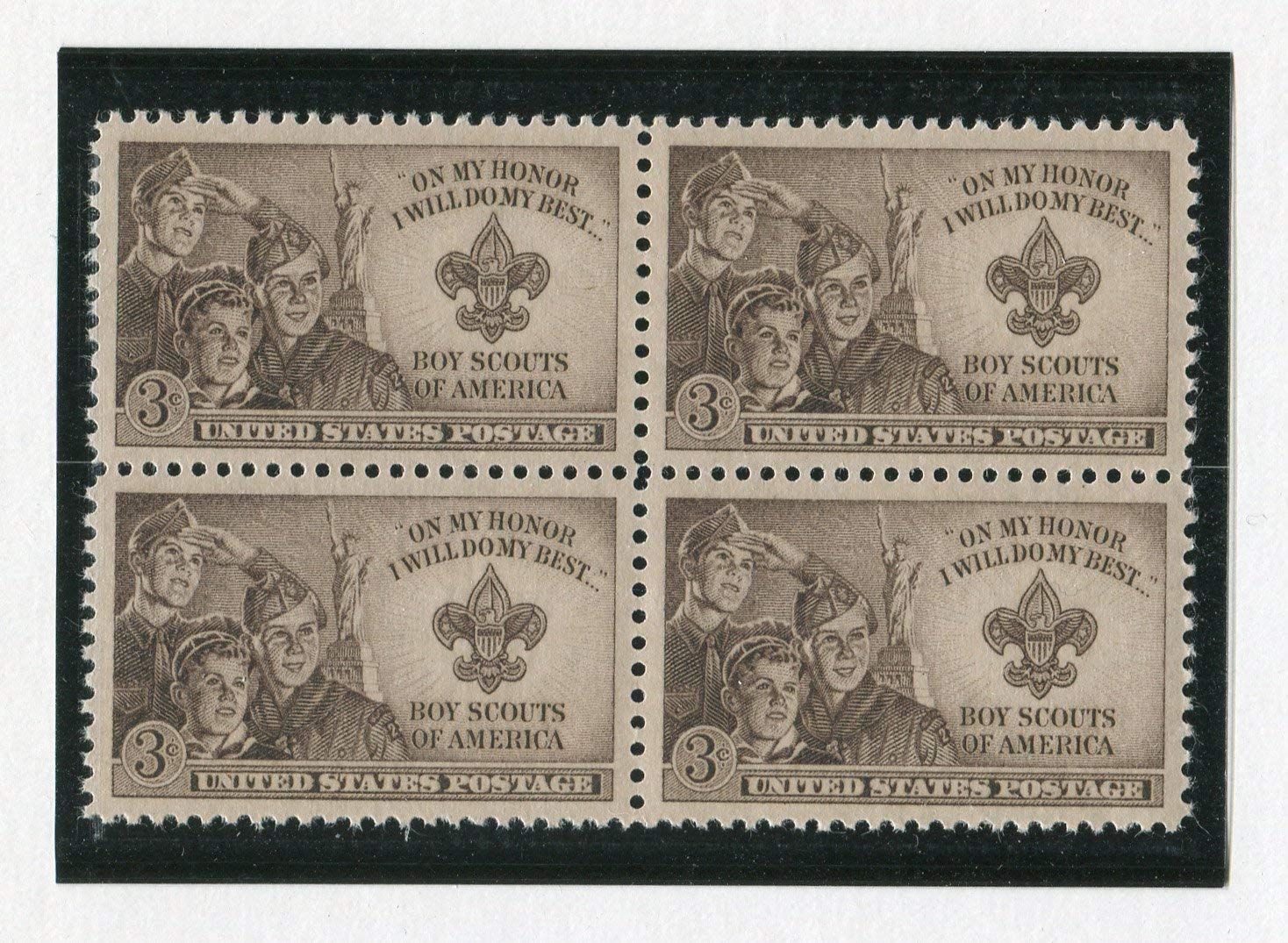 Boy Scouts Jamboree ~ Strengthening the Army of Liberty Scott #995 Block of 4 x 3/¢ US Postage Stamps