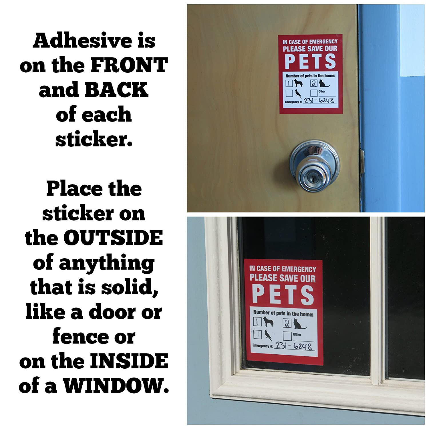 Pet Inside Finder Sticker 4 Pack Adhesive On Front Stiker Magnet Model Nopol Standar And Back In A Fire Emergency Firefighters Will See Alert The Window Door