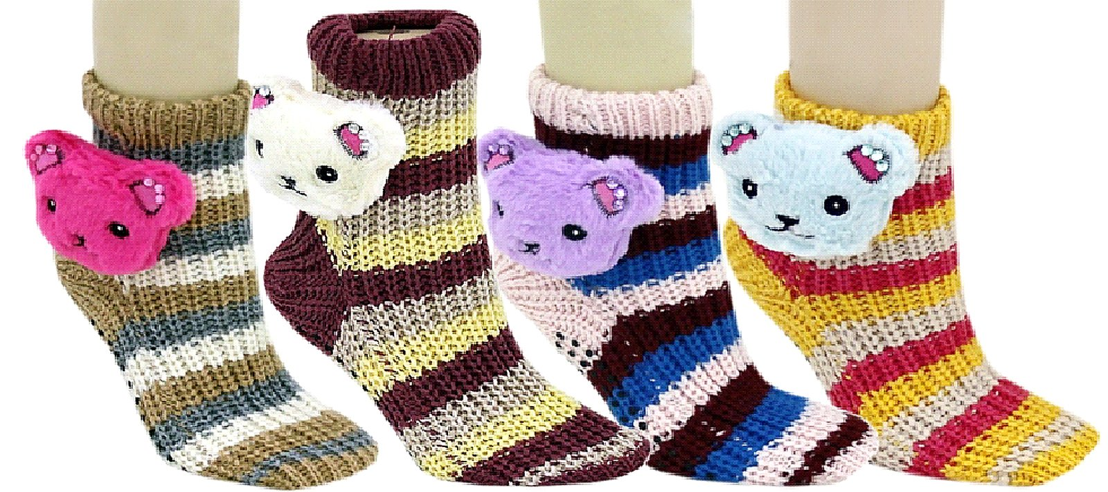 Fashion Mic's 3D Slipper Socks With Rubber Grips 6 Pairs (9-11, teddy bear)