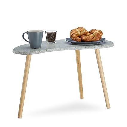 Relaxdays Petite table d\'appoint grise pour le salon 3 pieds design rétro  scandinave années 70 vintage HxlxP: 40 x 70 x 40 cm