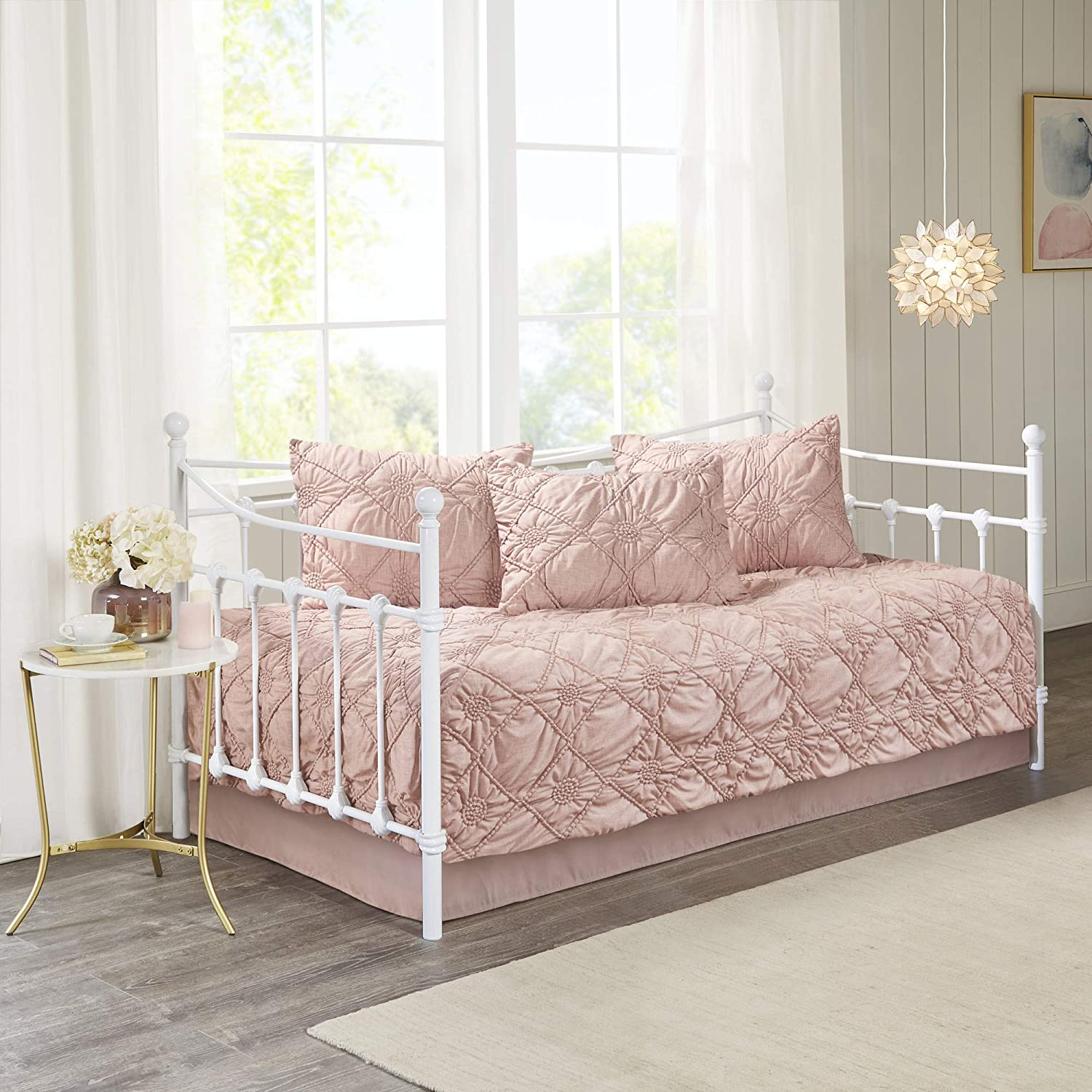 Madison Park Theresa 5 Piece Daybed Luxe Ruched Chambray Woven Cover in Rosette Diamond Design Modern Glam Shabby Chic All Season Bedding Set Dusty Rose Matching Sham and Bedskirt