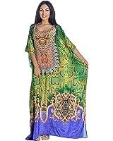 Kivaana Women's Green Kaftan Dress Caftan Maxi Plus Size Moroccan Dress In Snakeskin Print featuring Gold Scrolls