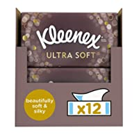 Kleenex Ultra Soft Facial Tissues, Pack of 12 Tissue Boxes
