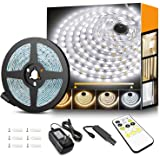 Tunable White LED Strip Lights with RF Remote, 600 LEDs Vanity Lights 3000K-6500K White Lights for Mirrors, TVs, Under…